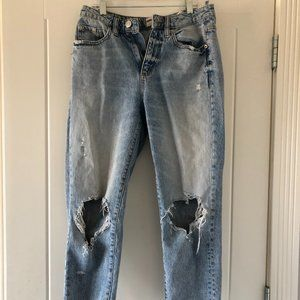 Garage Straight Ripped Jeans